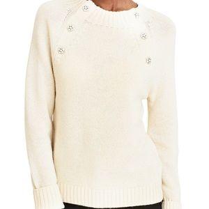 J.Crew cream crewneck sweater with jeweled buttons